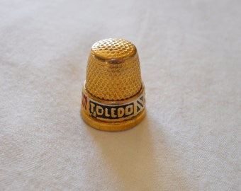 Vintage Toledo Thimble - Vintage Gold Plated Toledo Spain Thimble - Collectible Sewing Supply - Golden Thimble