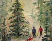 Christmas Painting, Christmas Tree, Print of Original Watercolor Painting, winter snow landscape, holiday painting, Christmas wall decor.