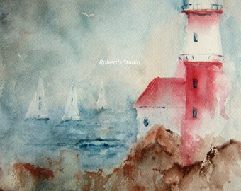 Lighthouse, Print of Original Watercolor Painting, nautical wall decor, watercolor art, watercolor print, landscape painting.