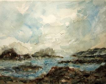 Rocky Shore, Print Of Original Watercolor, seascape painting, landscape watercolor, coastline painting, ocean art, shoreline watercolor.