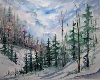 Print of Original Watercolor Landscape Painting, nature art, watercolor art, winter landscape, forest art, home decor wall art.