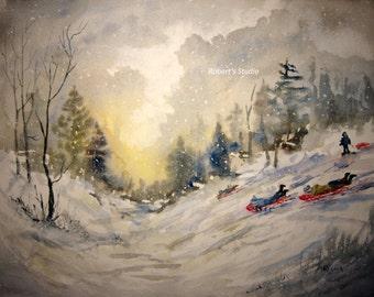 Fine Art Print of original watercolor landscape painting, 11x14 art print, winter landscape, snow painting, watercolor art, snow sledding.