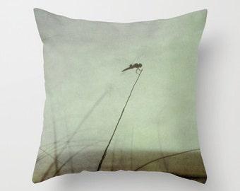 Dragonfly Pillow Cover, Mint Green Pillow, Beach Pillow, Seascape Pillow, Insect Pillow, Mint Lavendar Pillow, Photography Pillow Cover
