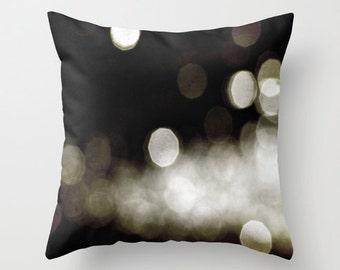 Pillow Cover, Gold Dark Brown Sparkles Pillow, Modern Circles Pillow, Dark Brown Bokeh Pillow, Sparkly Gold Bokeh Pillow, Bokeh Photo Pillow