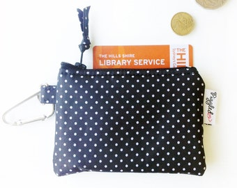 Kids' Oilcloth Coin Purse / Mini Wallet - Black and White Pin Dot