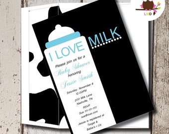 Cow Print Baby Shower Invitation | Baby Shower Invitation for Boys | I Love Milk | Printable Baby Shower Invitations | Baby Shower Invites