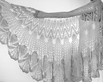 Gray Shawl,Gray Wraps Shawl, Crocheted Lace Shawl, lace knit shawl, knit shawl scarf, Handknit Clothing