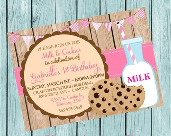 Girls' Milk and Cookies Printable Invitation
