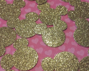 50 GOLD Mickey Mouse Heads GLITTER Confetti Cut Outs 1 Inch