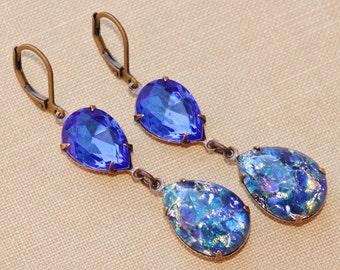 Vintage Blue Opal Earrings,Sapphire Blue Fire Opal,RARE,Swarovski Earrings,Opal Earrings,Opal Jewelry,Hourglass,Rhinestone,Navy Blue,Long