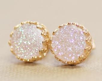 GENUINE White Druzy Post Earrings,Irridescent Druzy Quartz Stud Earrings,Titanium Coated,Gold Crown Bezel Stud,Pastel Rainbow,Gemstone Post