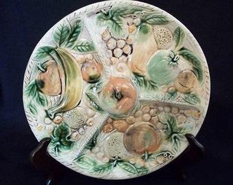 Vintage Pottery Ceramic Divided Serving Dish Tray Fruit Veggie Pattern