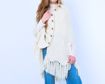 Vintage Crocheted Cream Chevron Poncho
