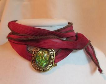 Burgundy Wrap Bracelet with Multi-colored Pendant