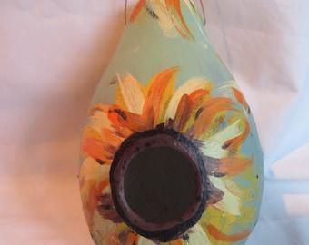 """6"""" Bird House Gourd with Sunflowers"""