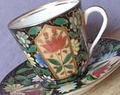 Antique 1800's Royal Vienna demitasse teacup and saucer, Victorian tea cup, hand painted black and gold tea cup, Austria Porcelain tea cup