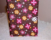 Fabric quilted organizer, brown hand pouch, pink flower, coupon holder, wallet organizer, stationery holder, clutch, accessories case