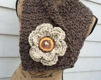 Flower Cowl Scarf,  Neck Warmer with Flower, Chunky Cowl,  Collar Scarf, Bulky Scarf, Flower Scarf