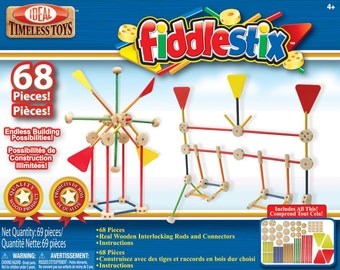 Wood Fiddlestix 68 pieces - Classic Rod and Connector Wooden Construction Set - Retro Building Set - Kids Crafts (443087)