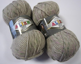 Alize Knitting Yarn Alize superlana midi mosaic gray tweed yarn chunky yarn wool for sale knitting materials knitting supplies