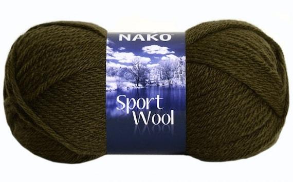 Knitting Yarn Uk Sale : Nako knitting yarn sport wool khaki green scarf
