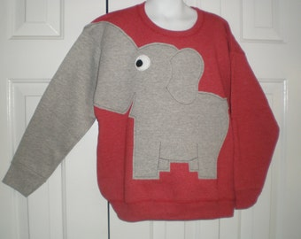 Childrens Elephant Trunk sleeve sweatshirt, Cinnamon Red heather, medium or large, elephant jumper, childrens sweatshirt