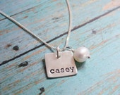Sterling Silver Hand Stamped Mom Necklace with Kids Name, Choose How Many Tags, Grandmother Necklace