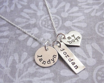 Sterling Silver Necklace Hand Stamped with Three Kids Names Mixed Shapes Disc Tag Heart