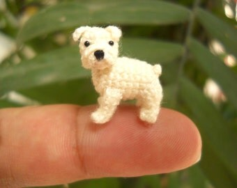 Miniature White Bulldog - Mini amigurumi Tiny Crochet Dog - Made To Order
