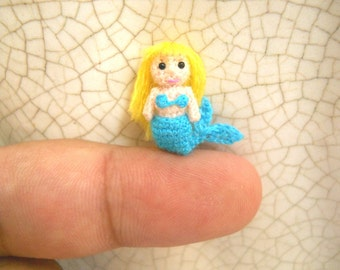 Miniature Mermaid - Micro amigurumi Crochet Tiny doll - Made To Order
