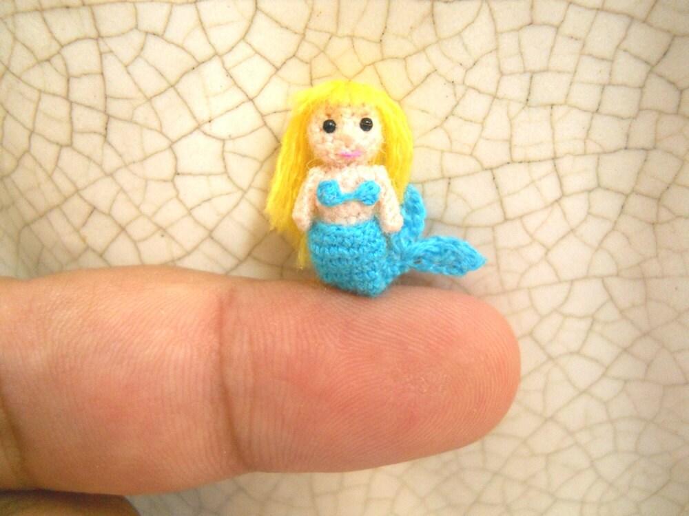 Tiny Amigurumi Doll : Miniature mermaid micro amigurumi crochet tiny doll made