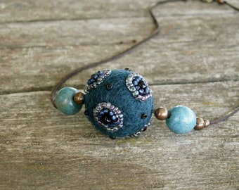 Blue Sapphire  -  Turquoise  -  Hand felted wool necklace embroidered with small glass beads
