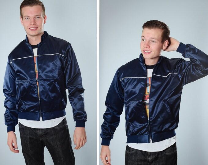 Vintage Men's Jacket Size S Small Navy Blue | Menswear Guys Coat | Nylon Retro Boyrfriend Fall Winter | 70s 80s | Elastic Band
