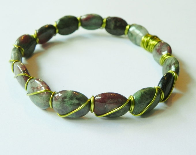 Zoisite oval wire wrapped bangle, brown, green gemstone
