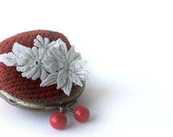 Coin Purse - Rusty Orange Crochet Coin Purse - frame coin purse - organic cotton - women's accessories