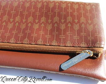 Arrow Brown Vegan Leather Foldover Clutch