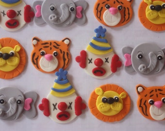 12 Fondant cupcake toppers--circus clown, tiger, lion and elephant