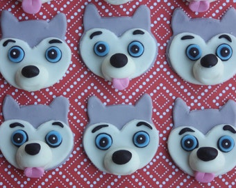 12 Fondant cupcake toppers--huskies, sled dogs