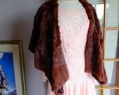 red brown vintage fur stole 1930s 1940s fur cape wedding dress wrap stole