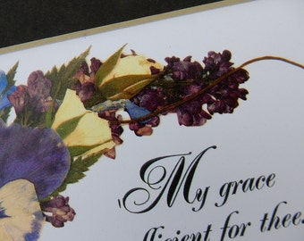 Bible Verse Grace Scripture Repro Pressed Flowers Matted Pansy Roses Encouragement