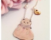 Victorian Kitten Cat Necklace ~ Printed Laser Cut Wood