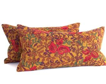 Lumbar Pillow Cover 8x16 Petite Lumbar Gold Pink Floral Decorative Pillow Oblong Accent Throw Pillow Cover