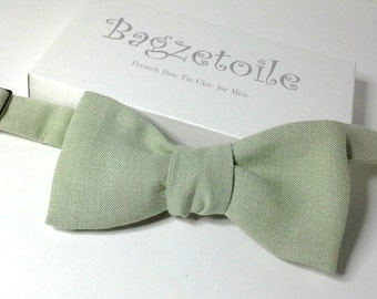 bowtie, mens, light sage green linen - freestyle - self tie, for men / adjustable bow tie : ships worldwide / made by Bagzetoile
