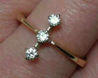 Soviet Diamond Ring, 583 Rose Gold, Atomic Trilogy. Anniversary, Engagement. Retro Modern Design
