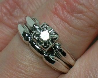 Vintage Wedding Set: White Gold Modern Atomic Era, New Look 50s 60s. Diamond Solitaire. Size 4 3/4