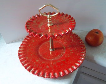 Retro Candy Dish Red/Gold Two Tier Serving Plate Ruffled Red Serving Plate