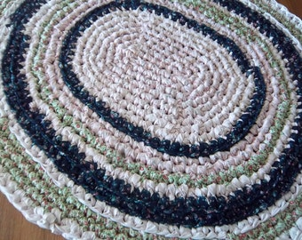 "Oval Crocheted Rag Rug 3' x 41""  PINK Blue Green"