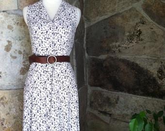 90s WHITE FLORAL DRESS vintage button front sleeveless boho maxi S