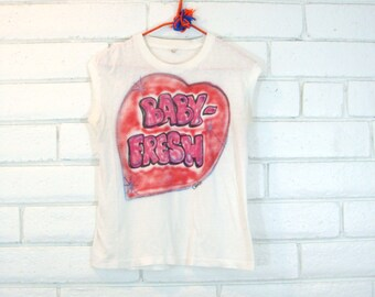 "80's AIRBRUSHED RAP T-SHIRT vintage muscle tee heart hip hop ""baby fresh"" sleeveless graphic knit top S"