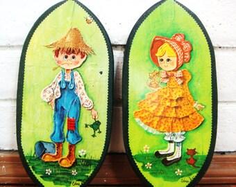 60's WALL ART SET vintage Edna Vierra cute kids farmer boy kitty cat girl wall hanging plaque bright kitsch